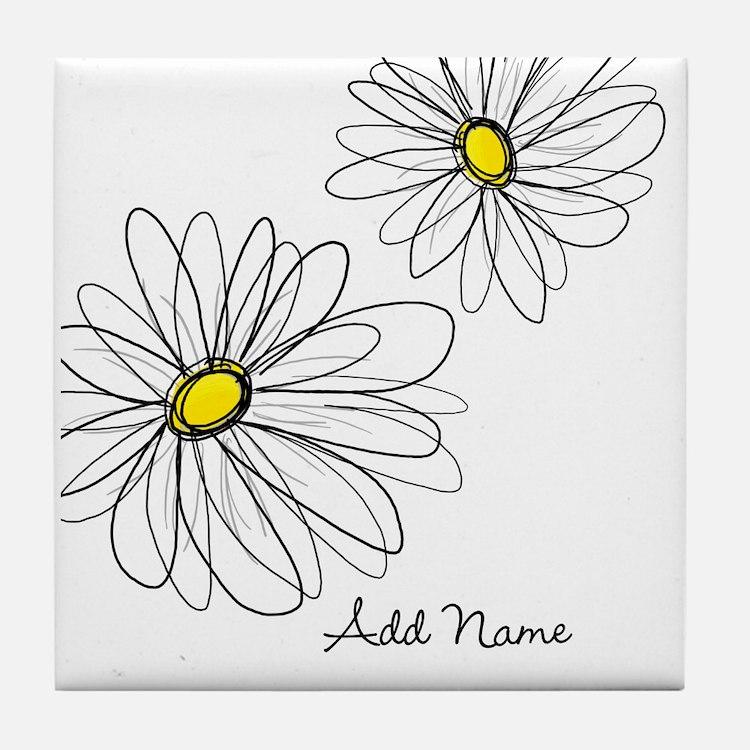 Modern Whimsical Daisies Tile Coaster