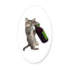 Cat Beer Oval Car Magnet