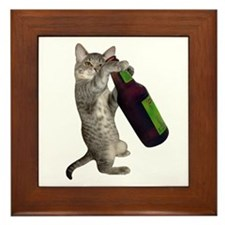Cat Beer Framed Tile