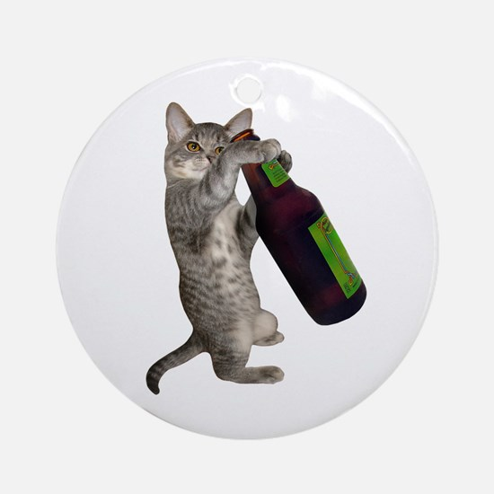 Cat Beer Ornament (Round)