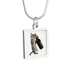 Cat Beer Silver Square Necklace