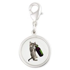 Cat Beer Silver Round Charm