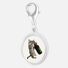 Cat Beer Silver Oval Charm