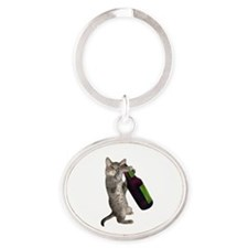 Cat Beer Oval Keychain