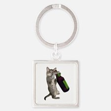 Cat Beer Square Keychain