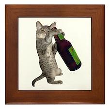 Cat Beer Framed Tile