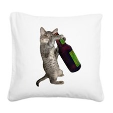 Cat Beer Square Canvas Pillow