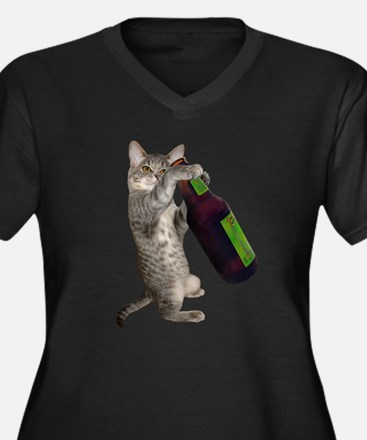 Cat Beer Women's Plus Size V-Neck Dark T-Shirt