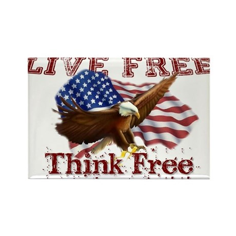Live Free, Think Free Rectangle Magnet