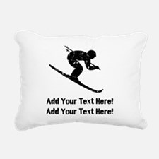 Personalize It, Skier Rectangular Canvas Pillow