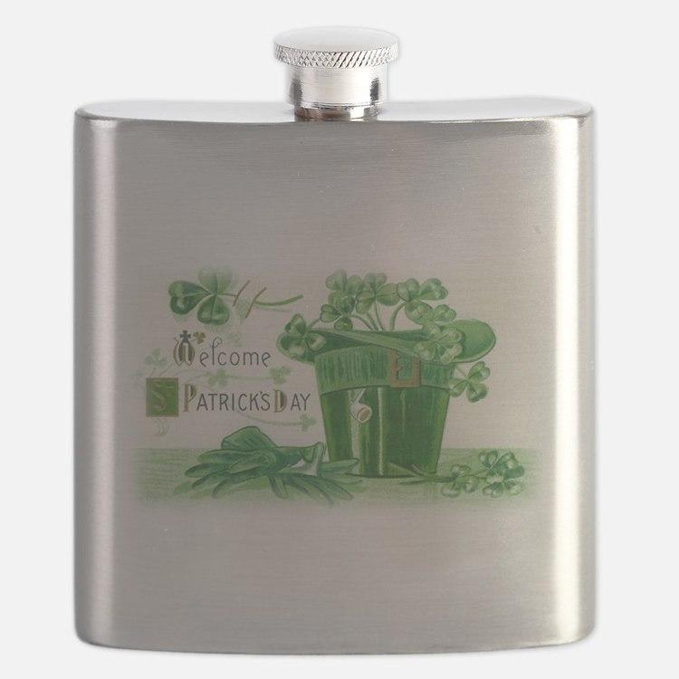 Vintage Green St Patricks Day Shamrock Hat Flask