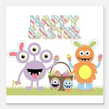 """Monster Happy Easter Square Car Magnet 3"""" x 3"""""""