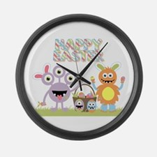 Monster Happy Easter Large Wall Clock