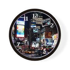 Times Square at night wall clock