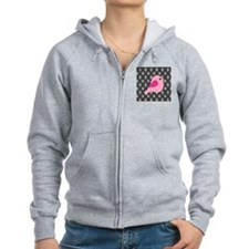 Pink Bird on Black Damask Zip Hoodie