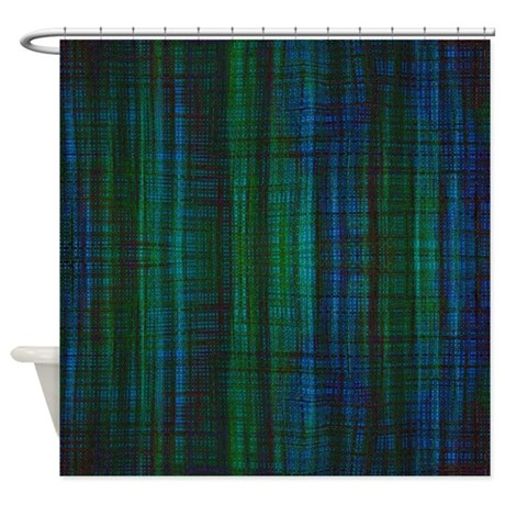 Blue Green Burlap Shower Curtain By Poptopia1