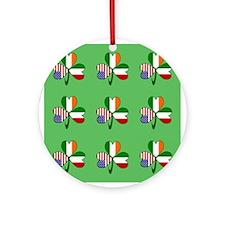 Green Italian Shamrocks 9 Ornament (Round)