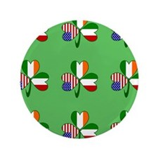 "Green Italian Shamrocks 9 3.5"" Button"