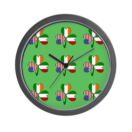 Green Italian Shamrocks 9 Wall Clock