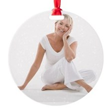 Happy senior woman - Round Ornament (Aluminum)