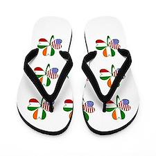 White Italian Shamrocks 9 Flip Flops