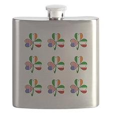 White Italian Shamrocks 9 Flask