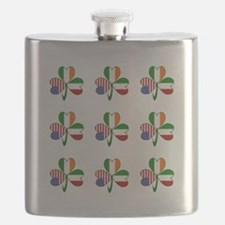 White Italian Shamrocks 9 Flask