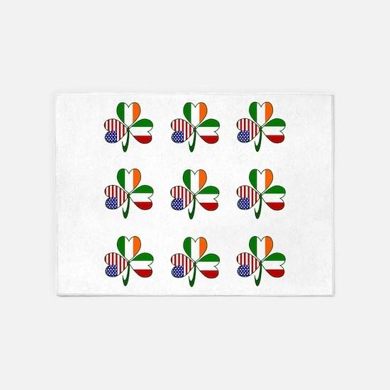 White Italian Shamrocks 9 5'x7'Area Rug