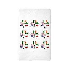 White Italian Shamrocks 9 3'x5' Area Rug