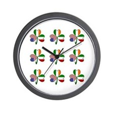 White Italian Shamrocks 9 Wall Clock