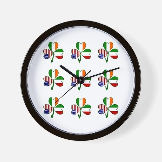 White Italian Shamrocks 9 Wall Clock