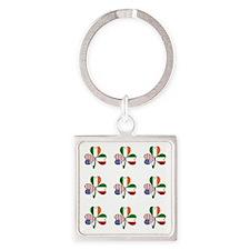 White Italian Shamrocks 9 Square Keychain