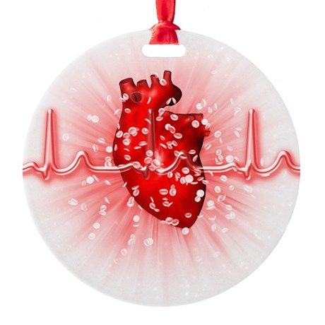 Heart and ECG - Round Ornament (Aluminum)