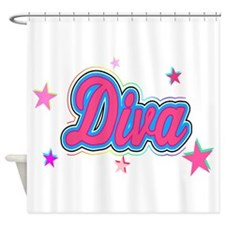 Colorful Diva Graffiti Art with Stars Shower Curta