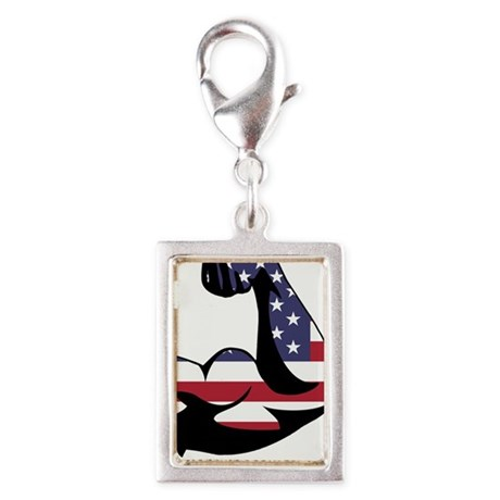 American Muscle Biceps Silver Portrait Charm