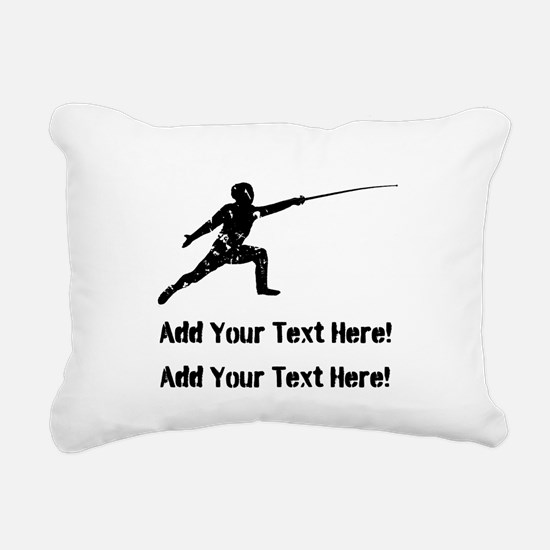 Personalize It, Fencing Rectangular Canvas Pillow