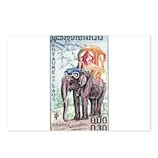 1958 Laos Asian Elephant Postage Stamp Postcards (