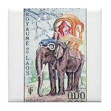 1958 Laos Asian Elephant Postage Stamp Tile Coaste