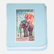 1958 Laos Asian Elephant Postage Stamp baby blanke