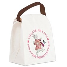 alice rabbit late late copy.png Canvas Lunch Bag