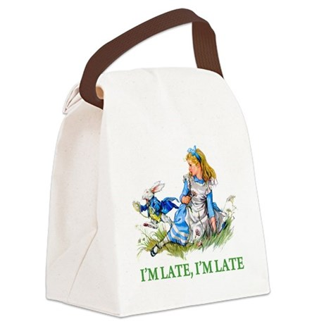 ALICE_BLUE_IM LATE_GREEN copy.png Canvas Lunch Bag