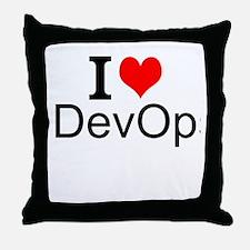 I Love DevOps Throw Pillow