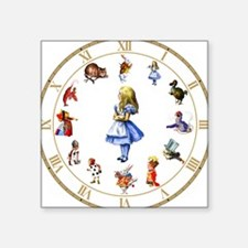 "WONDERLAND_Clock.png Square Sticker 3"" x 3"""