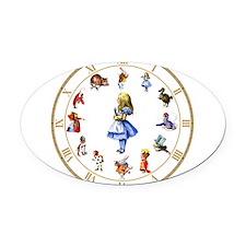 WONDERLAND_Clock.png Oval Car Magnet
