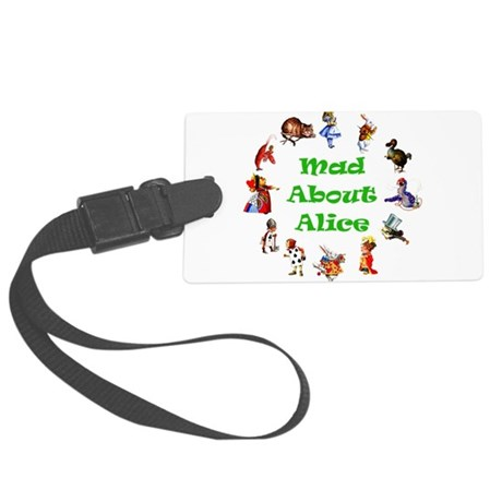 MAD ABOUT ALICE copy_GREEN.png Large Luggage Tag