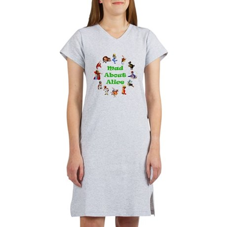 MAD ABOUT ALICE copy_GREEN.png Women's Nightshirt