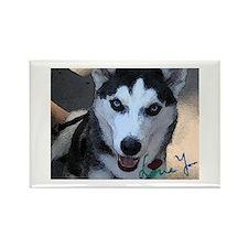 Siberian Husky Love You Rectangle Magnet