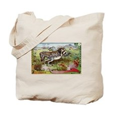 Antique French Zebras Postcard Tote Bag