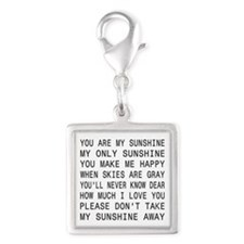 You Are My Sunshine Silver Square Charm