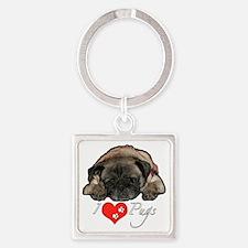 I love pugs Square Keychain